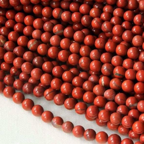 Red Jasper 4mm Round Beads - 16 inch strand
