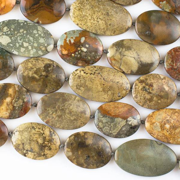 Rocky Butte Picture Jasper 20x25mm, 20x30mm, and 20x35mm Oval Beads - 16 inch strand
