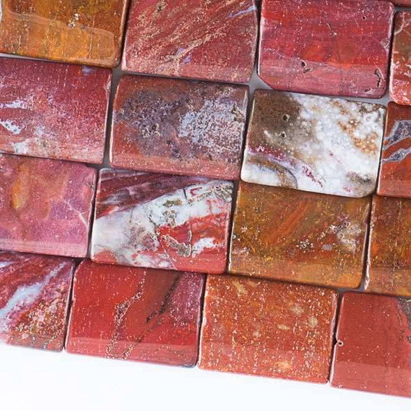 Red Ocean Jasper 15x22mm Pillows - 16 inch strand