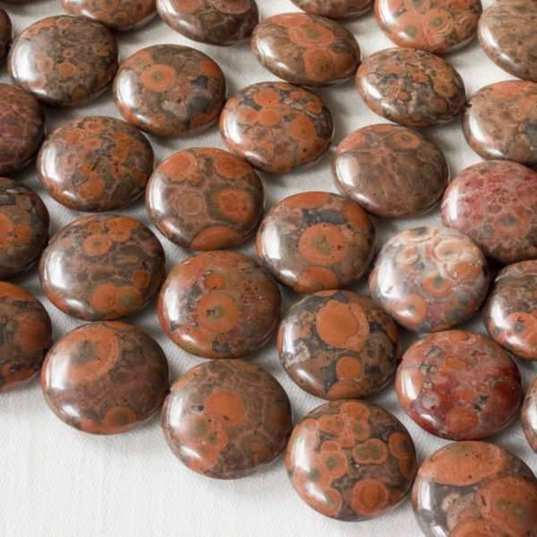 Red Orbicular Jasper 14mm Coin Beads - 16 inch strand