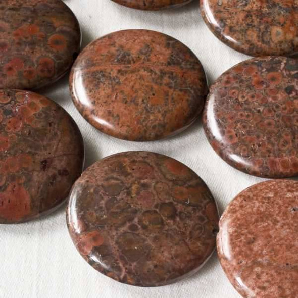 Red Orbicular Jasper 30mm Coin Beads - 15 inch strand