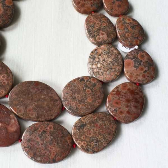 Red Orbicular Jasper 22x27mm-30x35mm Graduated Knotted Slabs Beads - 16 inch strand