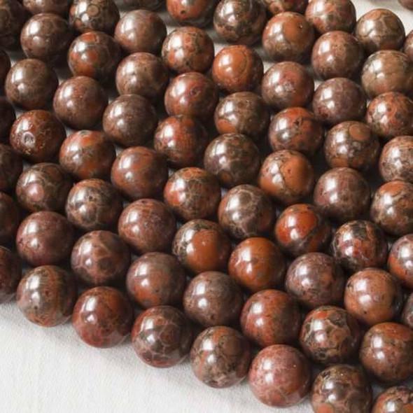 Red Orbicular Jasper 8mm Round Beads - 15.5 inch strand