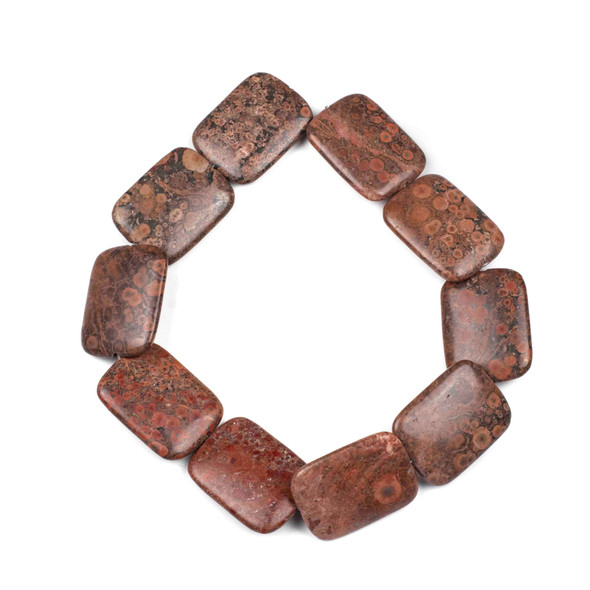 Red Orbicular Jasper 30x40mm Rectangle Beads - 16 inch strand