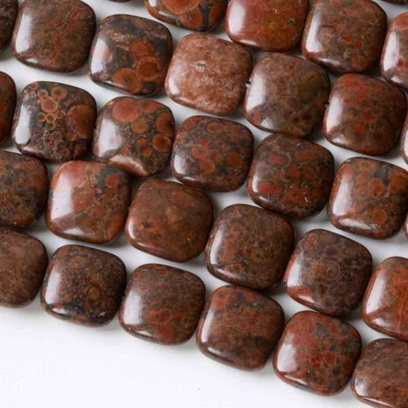 Red Orbicular Jasper 14mm Square Beads - 16 inch strand