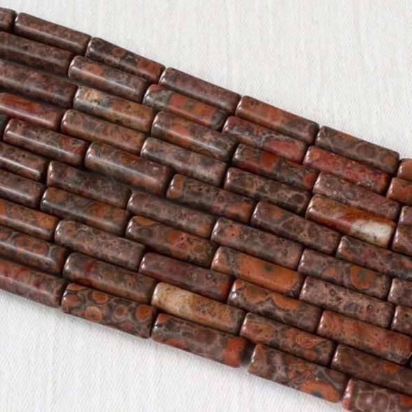 Red Orbicular Jasper 4x13mm Tube Beads - 16 inch strand