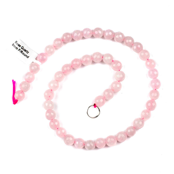 Rose Quartz 8mm Faceted Rounds - 15 inch strand