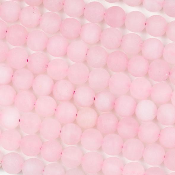 Matte Rose Quartz 8mm Round Beads - 16 inch strand