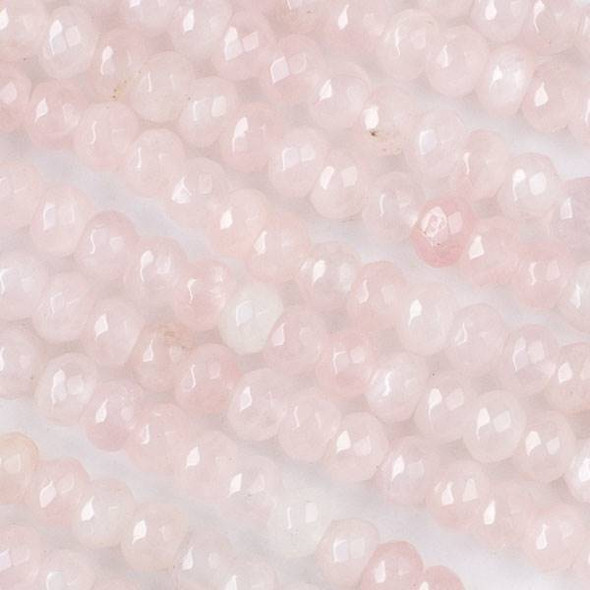 Rose Quartz Faceted 5x8mm Rondelle Beads - approx. 8 inch strand, Set B