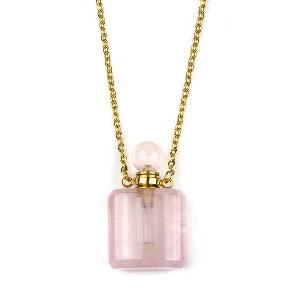 Rose Quartz 19x34mm Rounded Square Perfume Bottle Necklace with Gold Plated Stainless Steel Chain