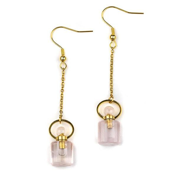 Rose Quartz 11x19mm Rounded Square Perfume Bottle Earrings with Gold Plated Stainless Steel - 1 pair