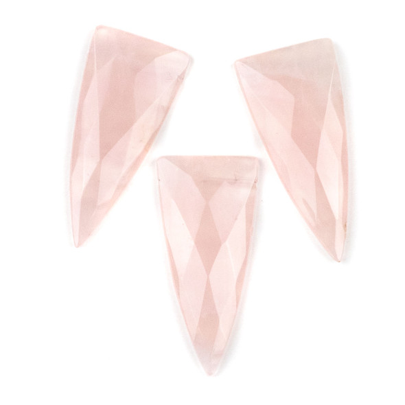 Rose Quartz 25x55mm Faceted Top Drilled Shield Pendant - 1 per bag