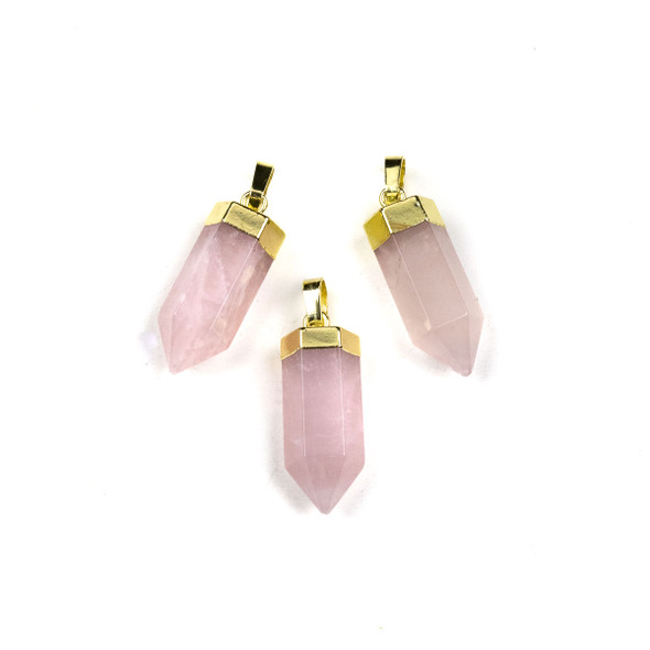 Rose Quartz 9x21mm Hexagon Point Pendant with a Gold Colored Top and Bail - 1 per bag