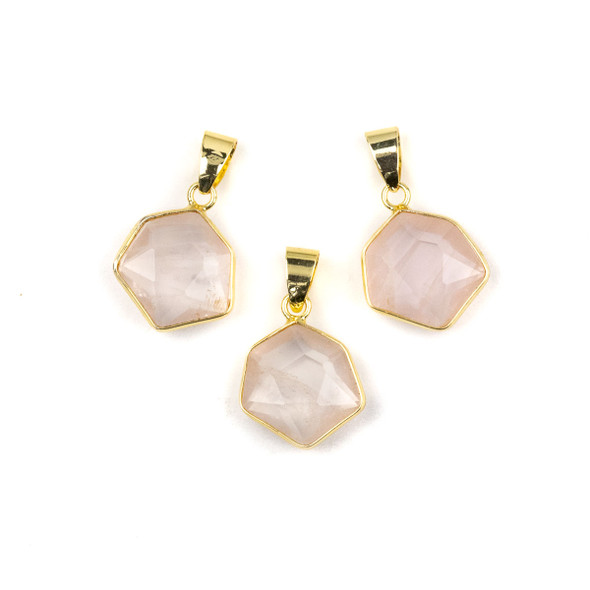 Rose Quartz 15x24mm Faceted Irregular Hexagon Pendant with Gold Plated Bezel and Bail - 1 per bag