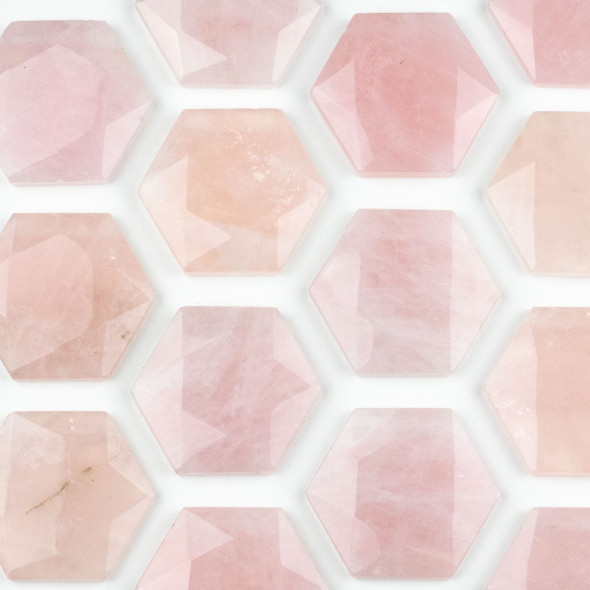 Rose Quartz 40x45mm Top Drilled Faceted Hexagon Pendant - 1 per bag