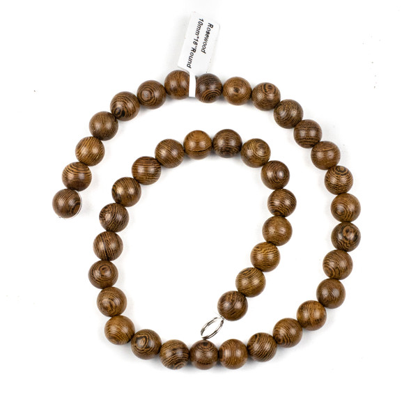 Rose Wood 10mm Round Beads - 15.5 inch strand