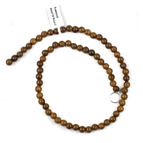 Rose Wood 6mm Round Beads - 15 inch strand