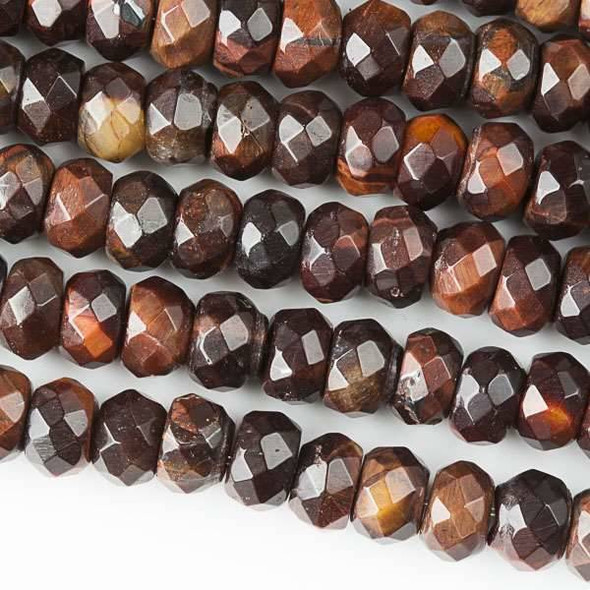 Red Tigereye Faceted 5x8mm Rondelle Beads - approx. 8 inch strand, Set B