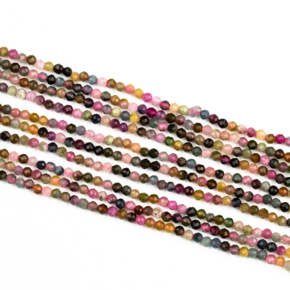 Rainbow Tourmaline 2.5mm Faceted Round Beads - 15 inch strand