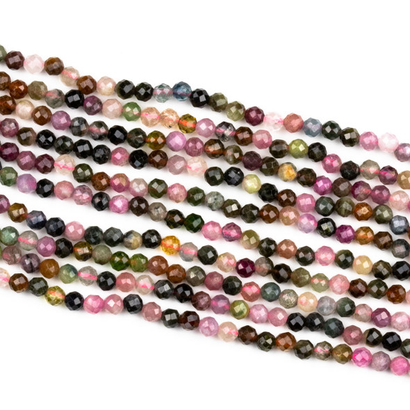 Rainbow Tourmaline 4mm Faceted Round Beads - 15 inch strand