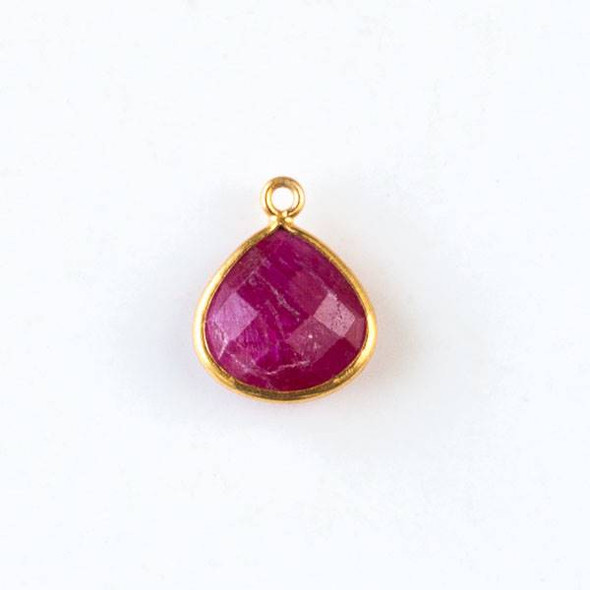 Ruby approximately 13x17mm Faceted Small Almond Teardrop Drop with Gold Plated Brass Bezel