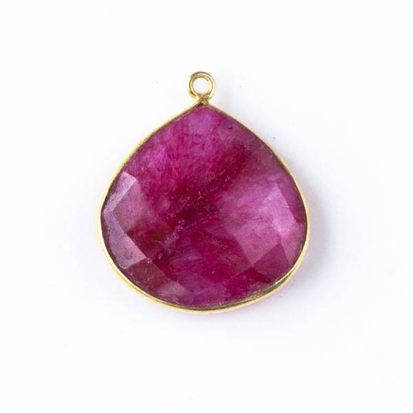 Ruby approximately 21x24mm Almond Drop with Gold Plated Brass Bezel