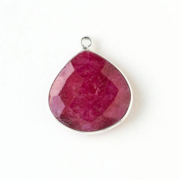 Ruby approximately 21x25mm Almond Teardrop Drop with a Silver Plated Brass Bezel