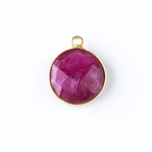 Ruby 13x16mm Faceted Coin Drop with Gold Plated Brass Bezel