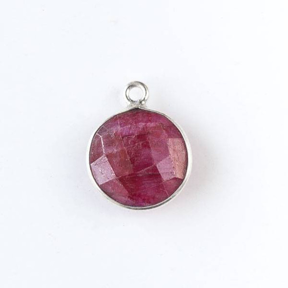 Ruby 13x17mm Faceted Coin Drop with a Silver Plated Brass Bezel