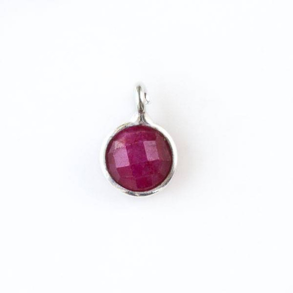 Ruby 8x11mm Coin Drop with a Silver Plated Brass Bezel