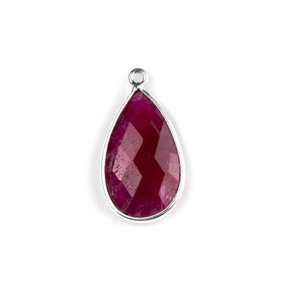 Ruby approximately 13x24mm Teardrop Drop with a Silver Plated Brass Bezel