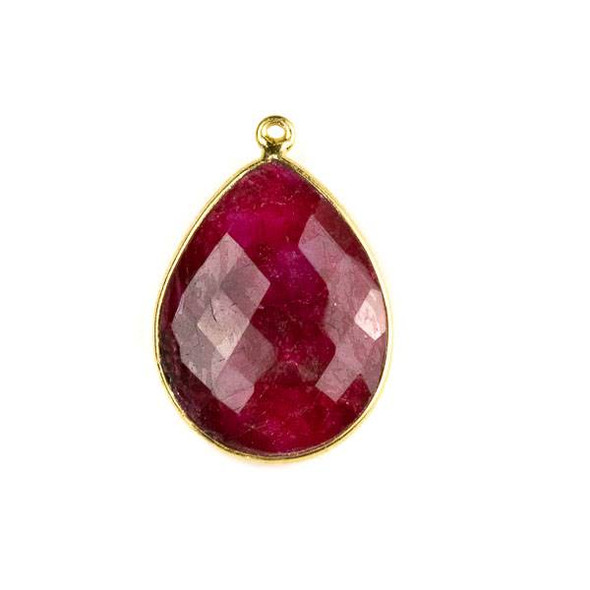 Ruby approximately 19x28mm Faceted Teardrop Drop with a Gold Plated Brass Bezel