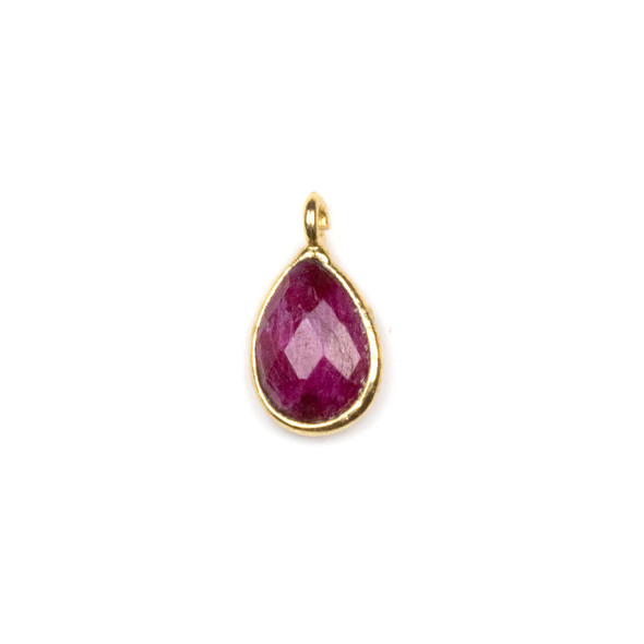 Ruby approximately 8x15mm Teardrop Drop with a Gold Plated Brass Bezel - 1 per bag