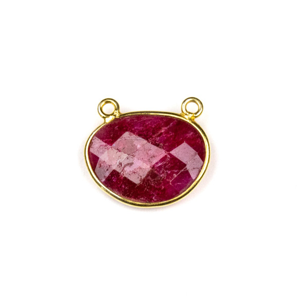 Ruby approximately 18x21mm Free Form Oval Drop Pendant with a Gold Plated Brass Bezel - 1 per bag