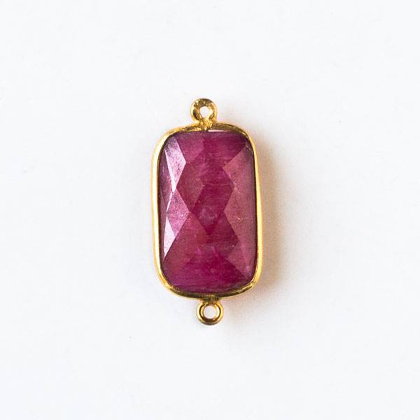 Ruby 12x26mm Faceted Rectangle Link with a Gold Plated Brass Bezel