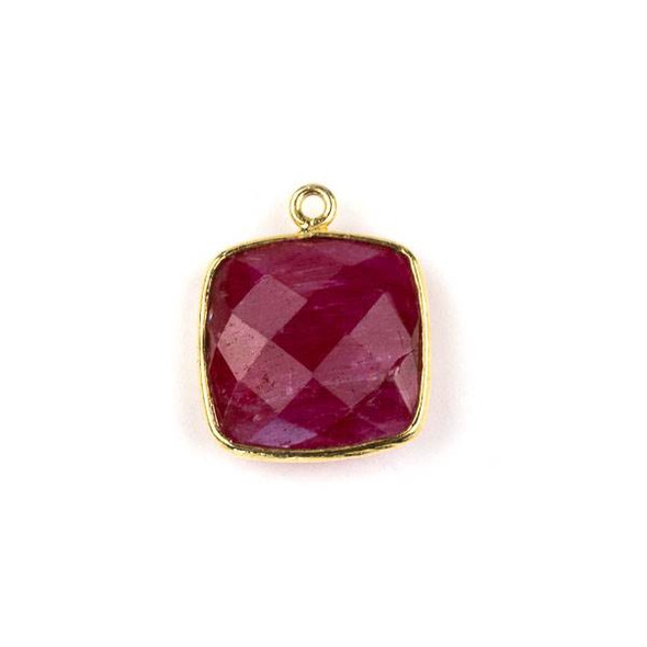 Ruby 15X18mm Square Drop with a Gold Plated Brass Bezel - 1 per bag