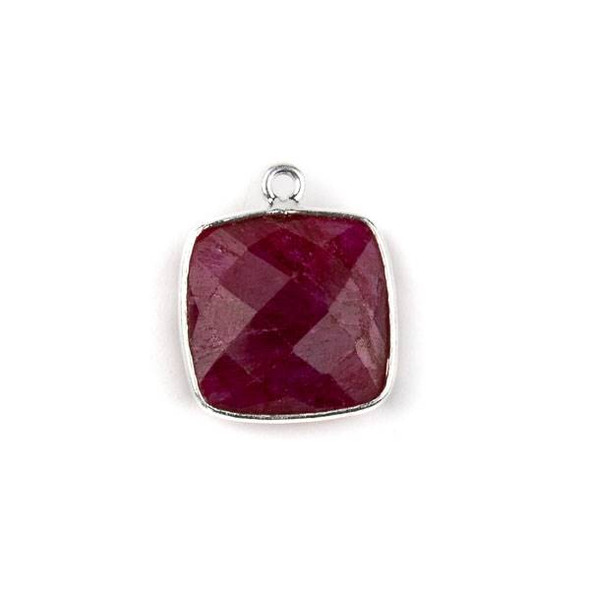 Ruby 15X18mm Square Drop with a Silver Plated Brass Bezel - 1 per bag