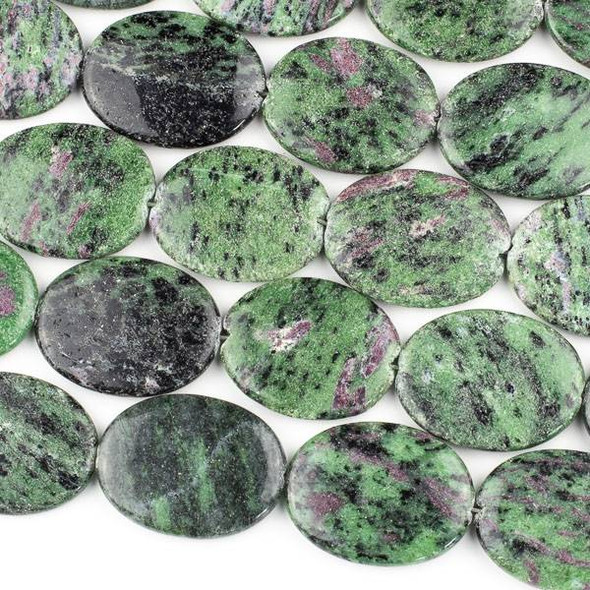 Ruby Zoisite 30x40mm Oval Beads - 15 inch strand