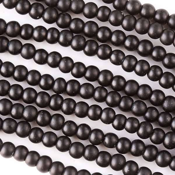 4mm Jet Black Rubber Coated Glass Rounds - 16 inch strand