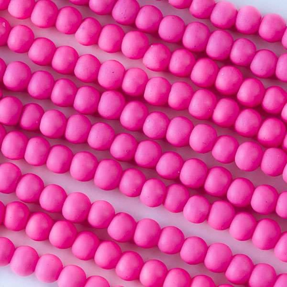 4mm Hot Pink Rubber Coated Glass Rounds - 16 inch strand