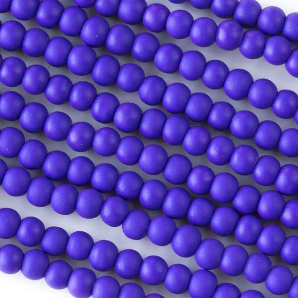 4mm Purple Rubber Coated Glass Rounds - 16 inch strand