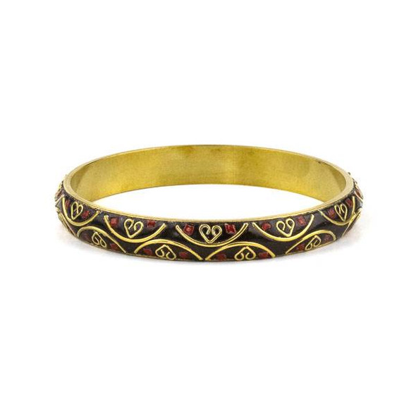 Tibetan Brass Bracelet - Brown with Red Coral Inlay and Brass Half Circles and Hearts - 1 per bag