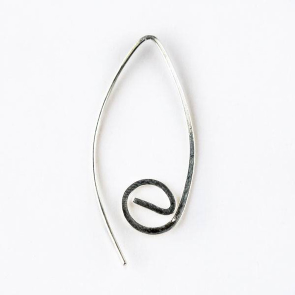 Sterling Silver Spiral Flat V Ear Wires - 1 pair/2 per bag