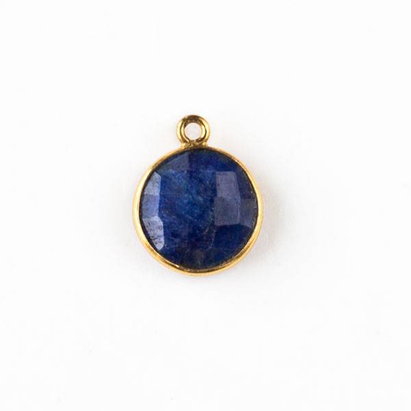 Sapphire 13x16mm Faceted Coin Drop with Gold Plated Brass Bezel