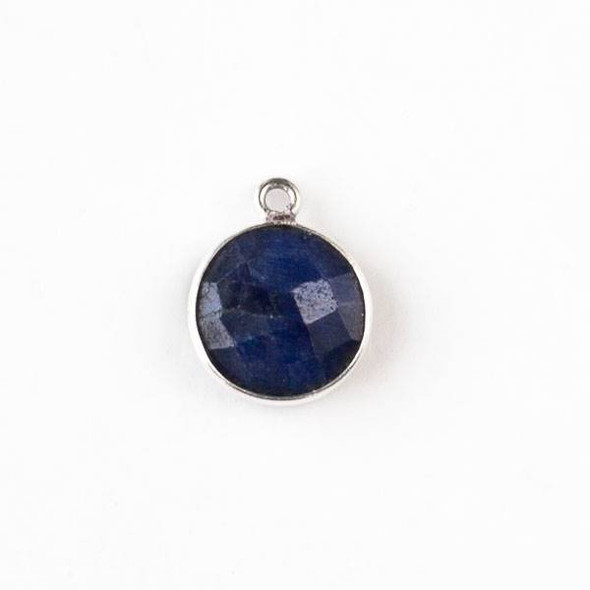 Sapphire 13x16mm Faceted Coin Drop with Silver Plated Brass Bezel