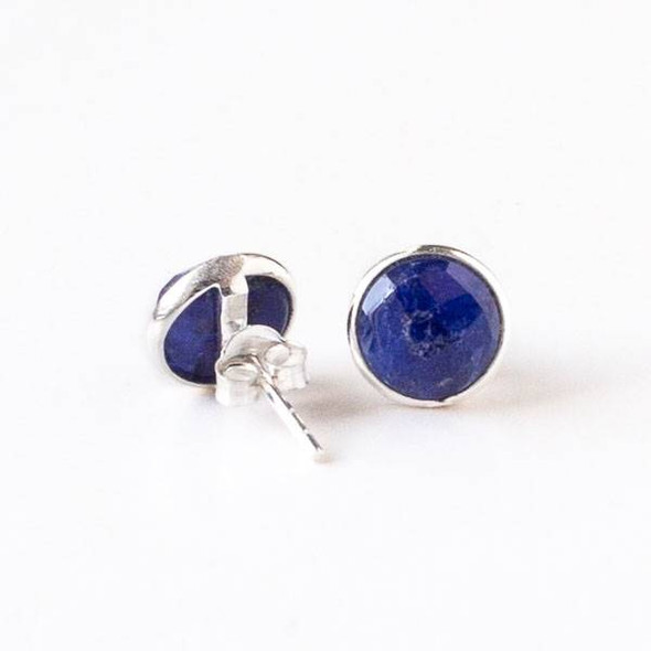 Sapphire 9mm Coin Sterling Silver Stud Earrings