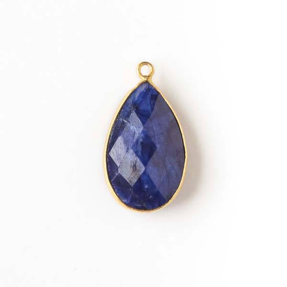 Sapphire approximately 13x25mm Teardrop Drop with a Gold Plated Brass Bezel