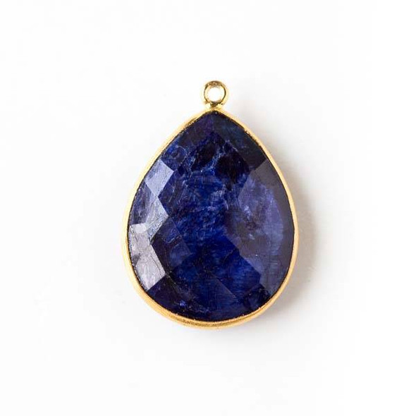 Sapphire approximately 19x27mm Teardrop Drop with a Gold Plated Brass Bezel