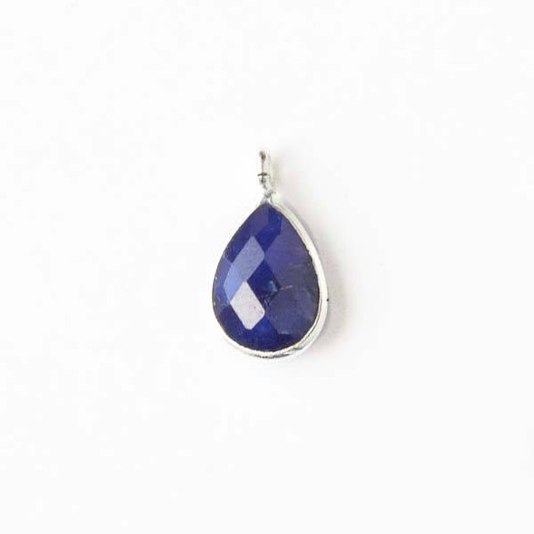 Sapphire approximately 8x15mm Teardrop Drop with a Silver Plated Brass Bezel