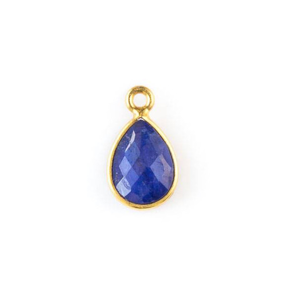 Sapphire approximately 8x15mm Teardrop Drop with a Gold Plated Brass Bezel
